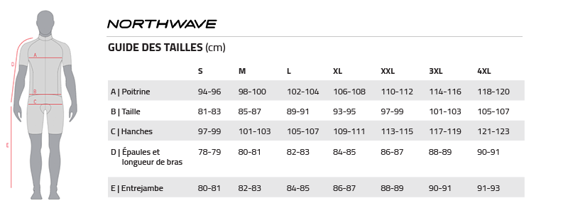 Tailles Northwave